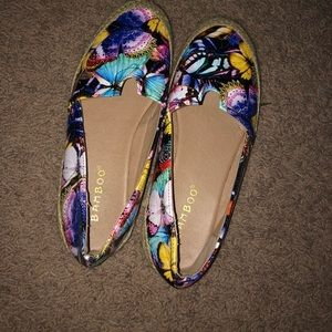 Multi colored butterfly slip ons